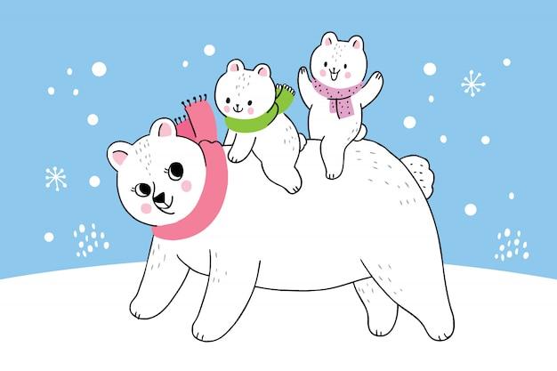 Dessin animé mignonne hiver mère et bébé ours polaire
