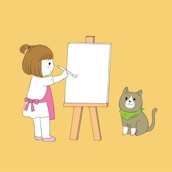 Dessin animé mignonne petite fille peinture vecteur de chat.