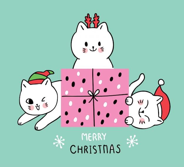 Dessin animé de mignons chats et cadeaux de noël.