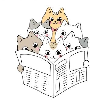Dessin animé de mignons chats lisant le vecteur de nouvelles.