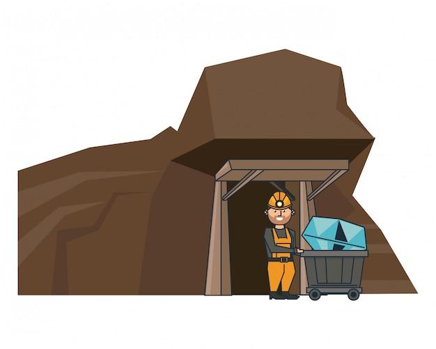 Dessin animé minier et ouvrier