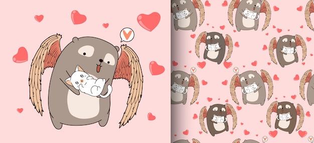 Dessin animé modèle sans couture adorable ours cupidon est étreignant chat