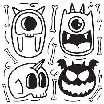 Dessin animé monstre doodle illustration de conception de coloriage