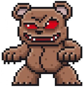Dessin animé monstre ours pixel design