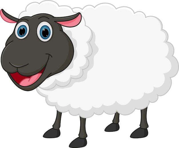 Dessin animé de moutons heureux