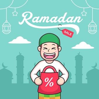 Dessin animé musulman avec vente de ramadan. icône illustration isolé