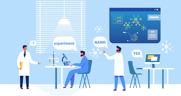 Dessin animé nanomedical experts discuter expérience.
