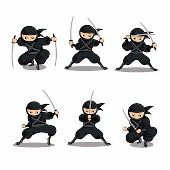Dessin animé ninja noir ensemble action avec épée