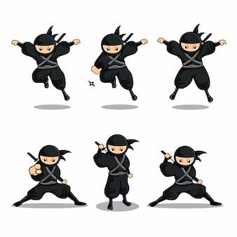 Dessin animé ninja noir sauter avec fléchette et se tenir debout avec épée