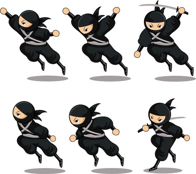 Dessin animé, ninja noir, sauter, haut, ensemble, action