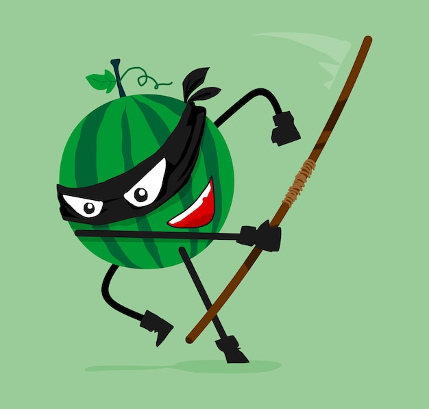Dessin animé ninja pastèque