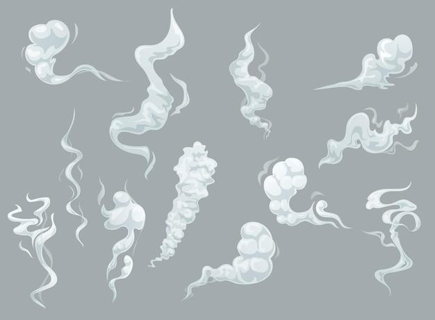 Dessin animé de nuages de fumée et de brouillard, arôme blanc ou vapeur fumante toxique, vapeur de poussière.