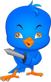 Dessin animé oiseau mignon tenant l'épée