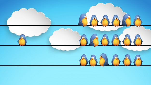 Dessin animé, oiseaux, sur, fil, à, nuages