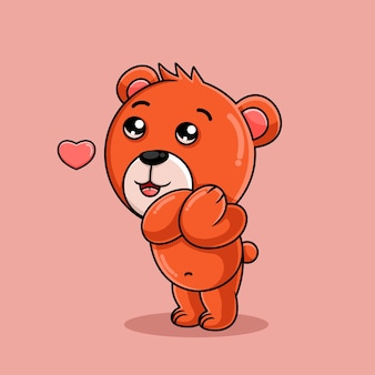 Dessin animé ours aimant