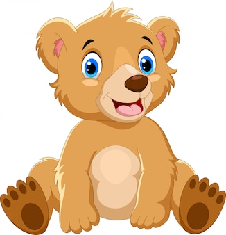 Dessin animé ours brun assis
