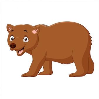 Dessin animé ours brun marchant isolé sur blanc