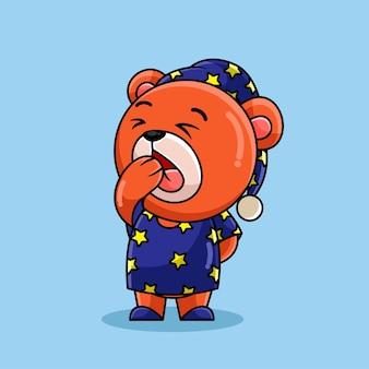 Dessin animé ours endormi