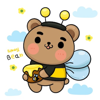 Dessin animé ours miel porter fantaisie abeille costume animal mignon personnage kawaii