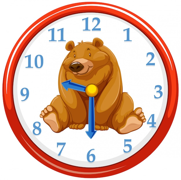 Dessin animé ours sur le modèle d'horloge