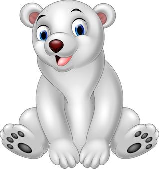 Dessin animé ours polaire assis