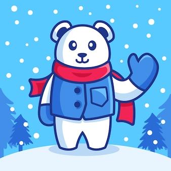 Dessin animé ours polaire en saison hivernale