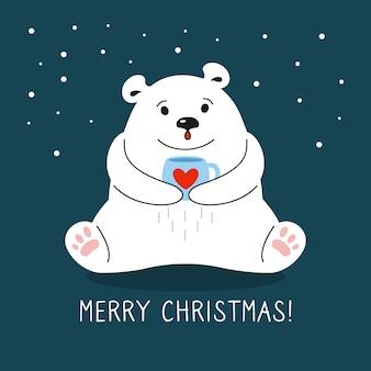 Dessin animé, ours polaire, à, tasse thé