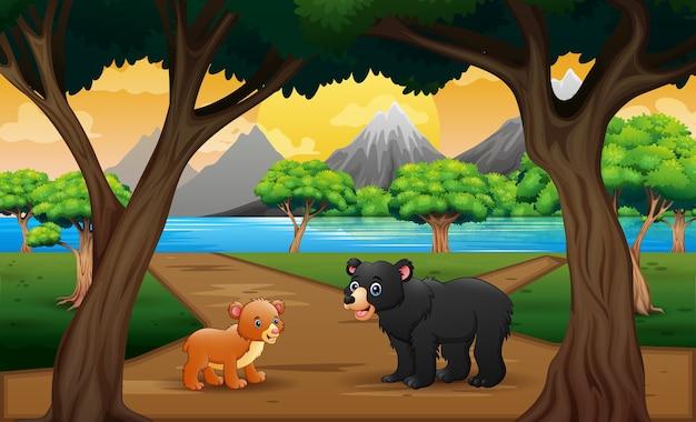 Dessin animé un ours avec son bébé sur la route