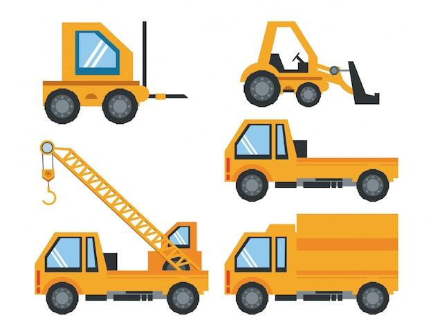 Dessin animé outils lourds ingénieur en construction