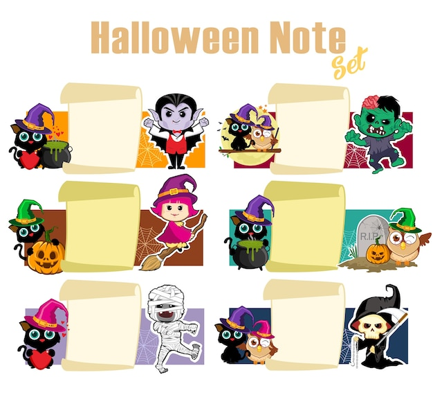 Dessin animé de pack de notes halloween
