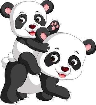 Dessin animé panda et bébé panda