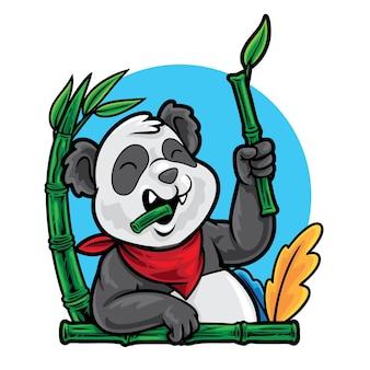 Dessin animé de panda mangeant une illustration de bambou