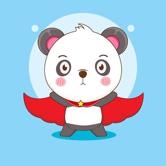 Dessin animé de panda mignon avec cape comme super-héros