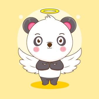 Dessin animé de panda mignon comme un ange