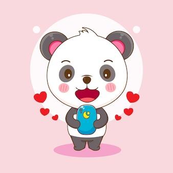 Dessin animé de panda mignon jouant au smartphone