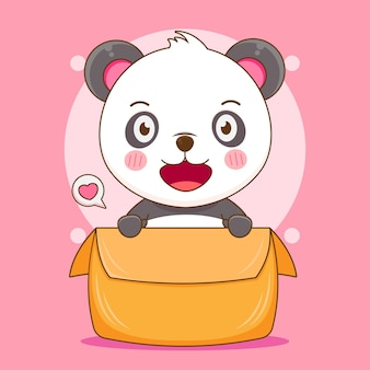 Dessin animé de panda mignon jouant dans la boîte
