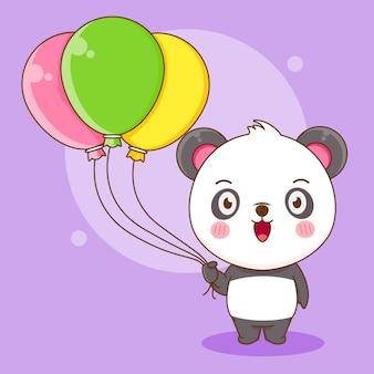 Dessin animé de panda mignon tenant un ballon