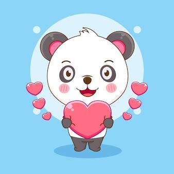 Dessin animé de panda mignon tenant coeur amour