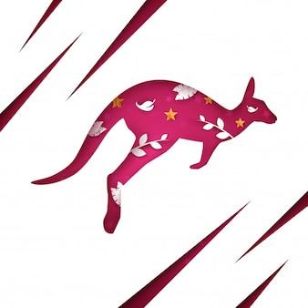 Dessin animé papier kangourou