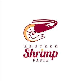 Dessin animé pâte crevettes assaisonnement vecteur ingrédient saveur fruits mer étiquette