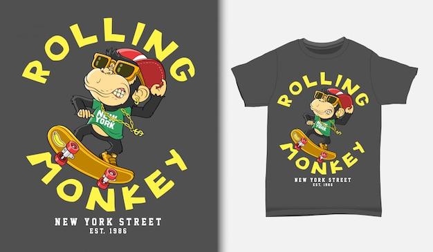 Dessin animé de patineur de singe, avec un design de t-shirt, dessiné à la main