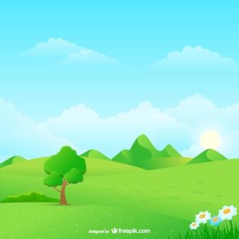 Dessin animé paysage naturel