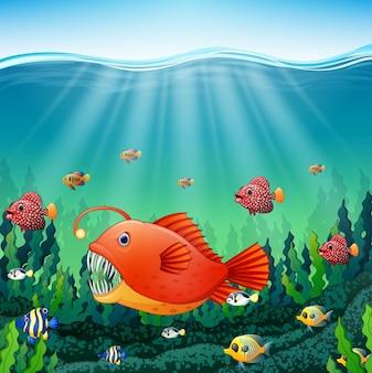 Dessin animé pêcheur poisson sous l'eau