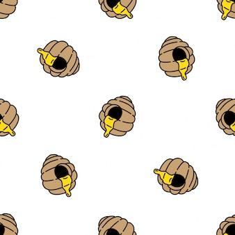 Dessin animé de peigne ruche modèle sans couture abeille à miel