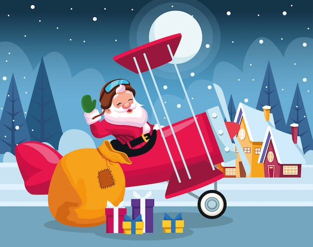 Dessin animé père noël dans un avion avec des boîtes-cadeaux sur les maisons et nuit d'hiver, coloré, illustration