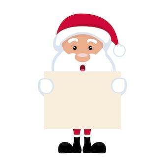 Dessin Animé De Père Noël Tenant Affiche Vierge Vecteur Premium