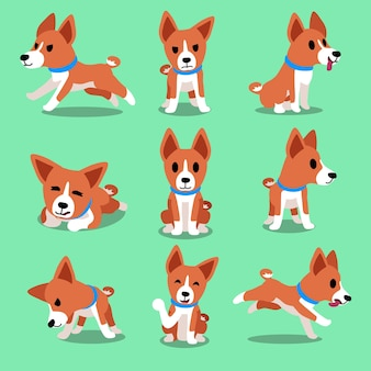 Dessin animé personnage basenji chien poses