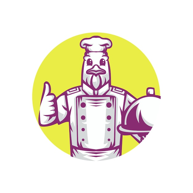 Dessin animé de personnage de chef de poulet