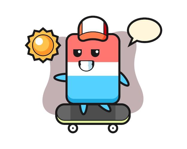 Dessin animé de personnage de gomme monter une planche à roulettes, style mignon, autocollant, élément de logo