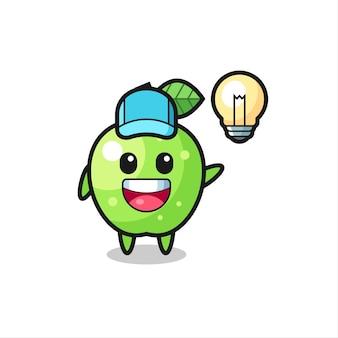 Dessin animé de personnage de pomme verte obtenant l'idée, conception de style mignon pour t-shirt, autocollant, élément de logo